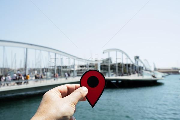 Adam kırmızı işaretleyici liman Barcelona Stok fotoğraf © nito