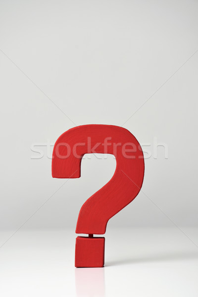 Czerwony znak zapytania górę podpisania przestrzeni Zdjęcia stock © nito