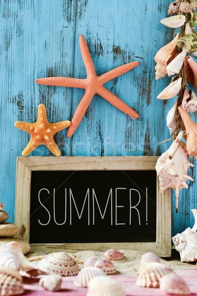 starfishes, shells and text summer in a chalkboard Stock photo © nito