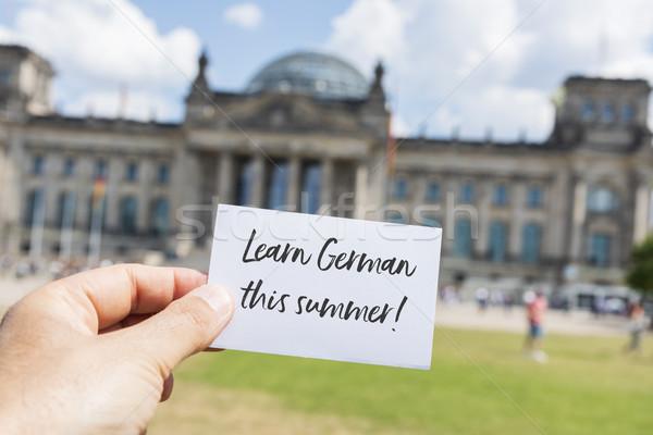 Szöveg tanul nyár Berlin Németország közelkép Stock fotó © nito