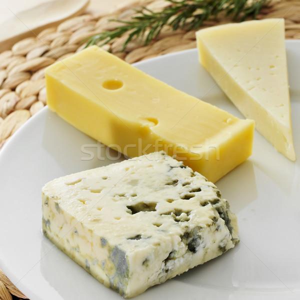 チーズ クローズアップ プレート ロクフォール 青 ストックフォト © nito