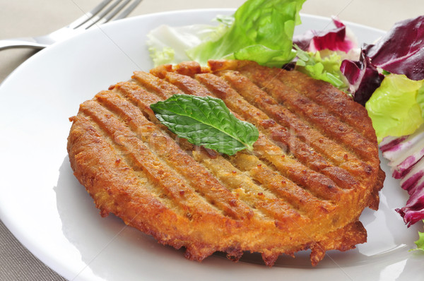 Photo stock: Burger · plaque · table · alimentaire · restaurant