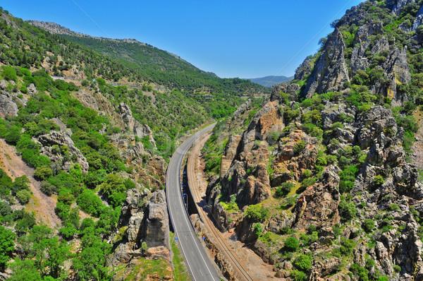Kanyon Spanyolország kilátás autópálya kő föld Stock fotó © nito