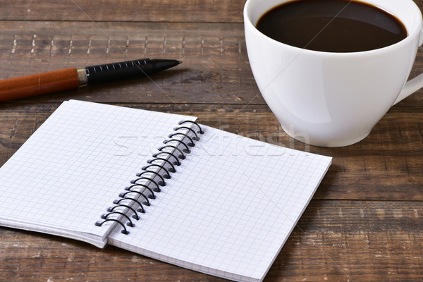 blank notebook, pen and cup of coffee Stock photo © nito