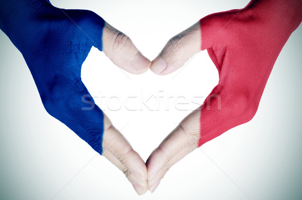 heart patterned with the flag of France Stock photo © nito