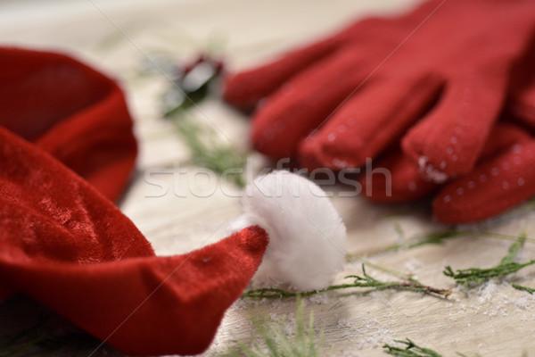 santa hat, red gloves and holly Stock photo © nito