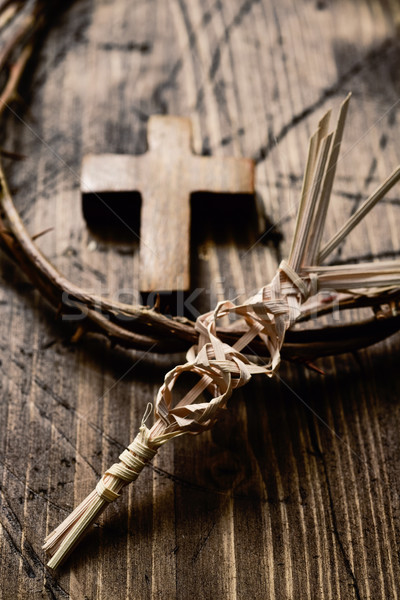 Stock photo: braided palm, cross and crown of thorns