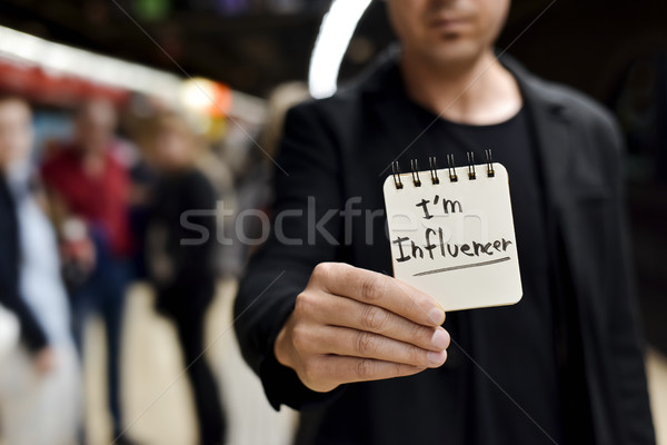 man and text I am influencer in a note Stock photo © nito