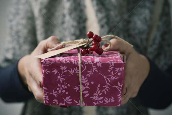 young woman with a christmas gift Stock photo © nito