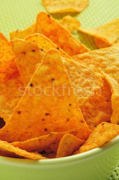Foto stock: Nachos · primer · plano · tazón · apetitoso · naranja · tejido