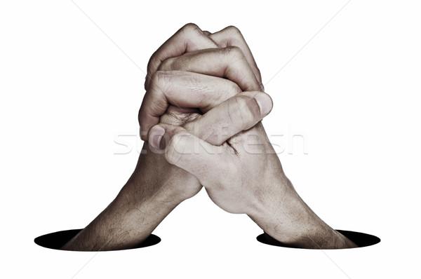 Cooperazione uomo mani insieme unione bianco Foto d'archivio © nito