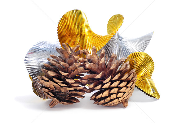 pine cones and silver and golend garland Stock photo © nito