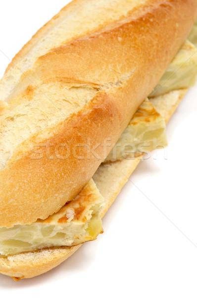 Spanyol tortilla szendvics fehér háttér étterem Stock fotó © nito