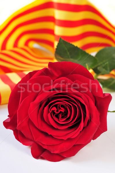 Stock fotó: Könyv · piros · rózsa · zászló · szent · nap · hagyomány