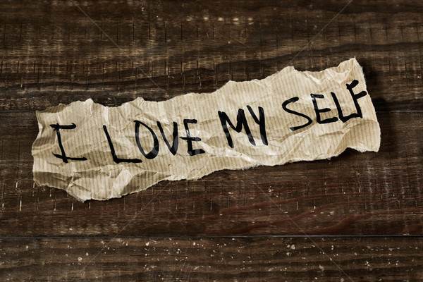 text I love myself written in a piece of paper Stock photo © nito