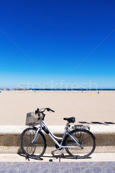 bicycle in La Malvarrosa beach, Valencia, Spain Stock photo © nito