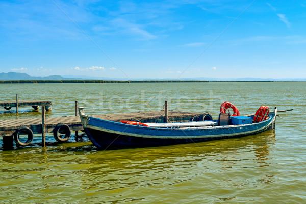 Csónak dokk Valencia Spanyolország fából készült utazás Stock fotó © nito