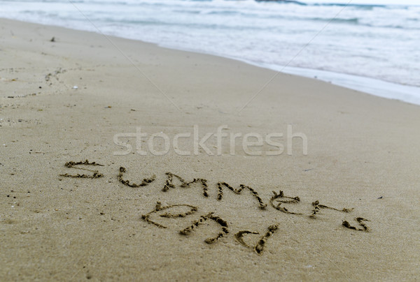 Metin son kum plaj deniz Stok fotoğraf © nito