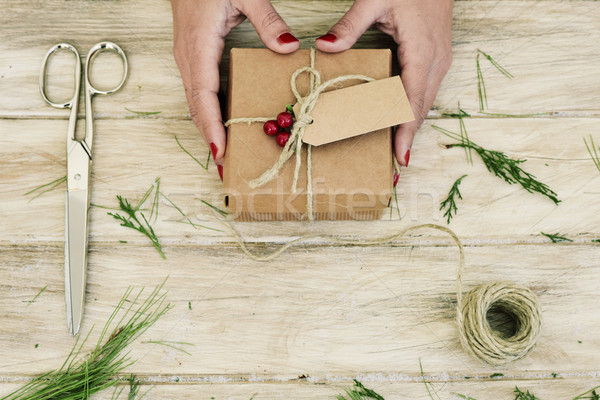 woman with a freshly arranged christmas gift Stock photo © nito