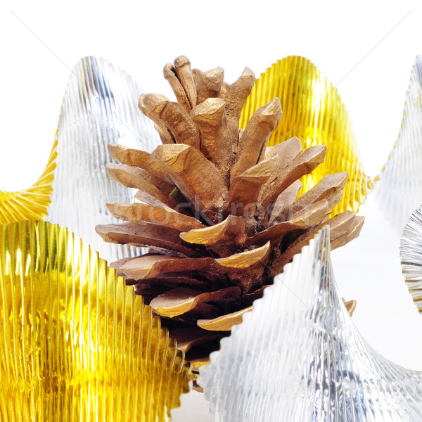 pine cone and golden and silver garland Stock photo © nito
