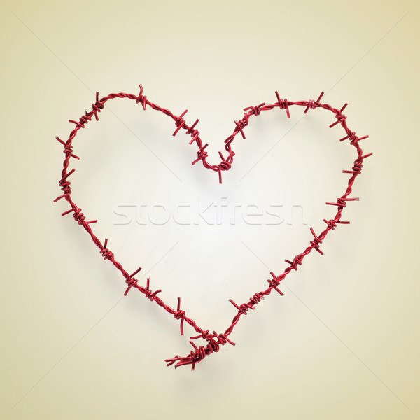 heart-shaped roll of barbed wire Stock photo © nito
