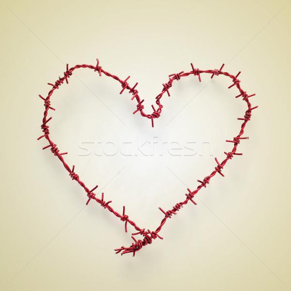 Rulo dikenli tel bej Retro etki sevmek Stok fotoğraf © nito