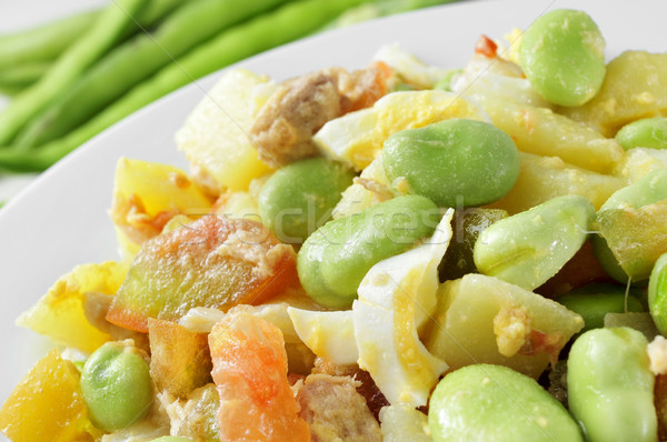 salad with raw broad beans, tomato, tuna, boiled potato, boiled  Stock photo © nito