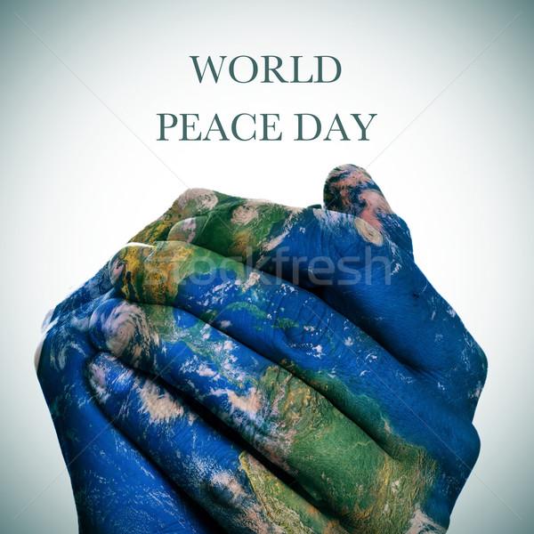 świat pokoju dzień ziemi Pokaż mapie świata Zdjęcia stock © nito