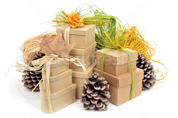 gift boxes decorated with natural ornaments Stock photo © nito