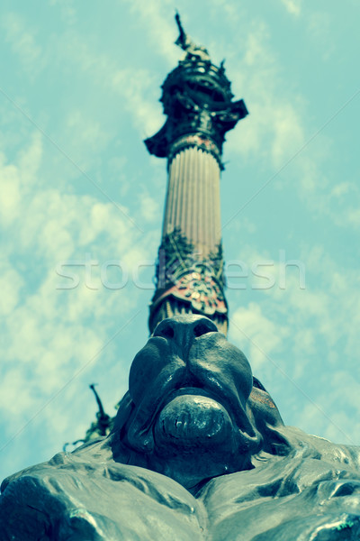 Columbus Monument in Barcelona, Spain, with a retro effect Stock photo © nito