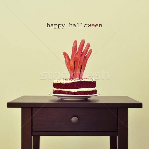 Sanguinosa mano torta testo felice halloween Foto d'archivio © nito