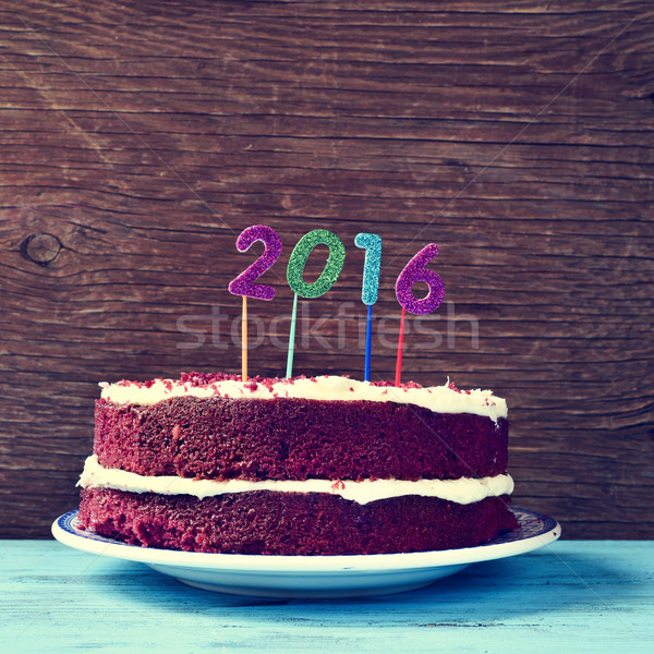 glittering numbers forming number 2016, as the new year, on a ca Stock photo © nito