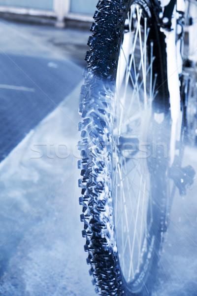 Schoonmaken mountainbike car wash berg fiets Stockfoto © nito
