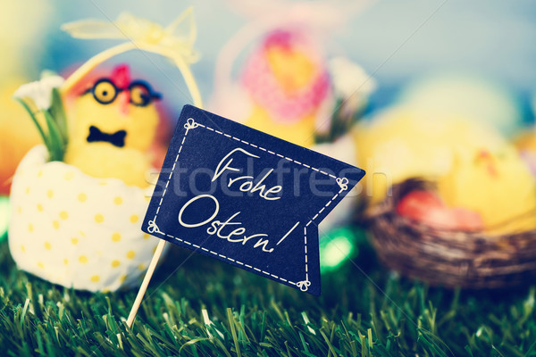 text Frohe Ostern, happy Easter in German Stock photo © nito