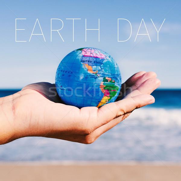 text earth day and world globe Stock photo © nito