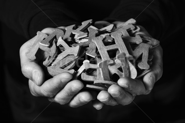 man with wooden letters in his hands Stock photo © nito