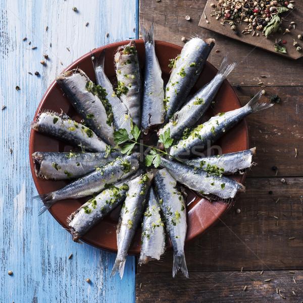 ストックフォト: 生 · 準備 · 調理済みの · 表示 · マリネ