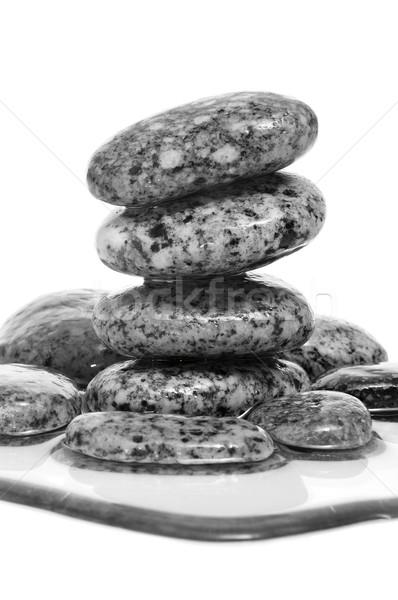 Kiegyensúlyozott fekete zen kövek köteg fedett Stock fotó © nito