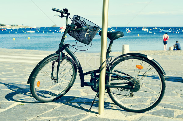 bicycle in a seafront on the Mediterranean sea, with a filter ef Stock photo © nito