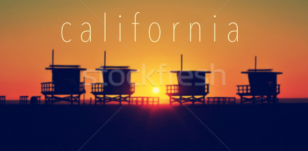 the word California and some lifeguard towers in Venice Beach at Stock photo © nito