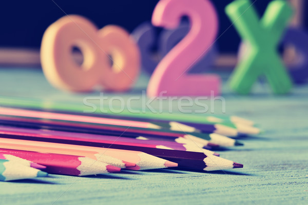 Lápis giz de cera números azul mesa de madeira Foto stock © nito
