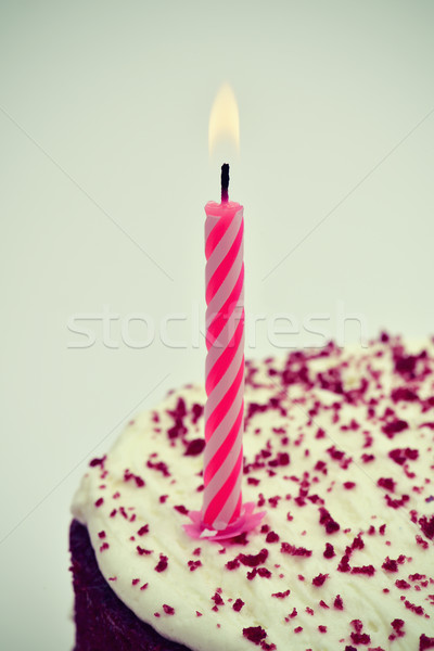 lighted candle on a cake, vignetted Stock photo © nito