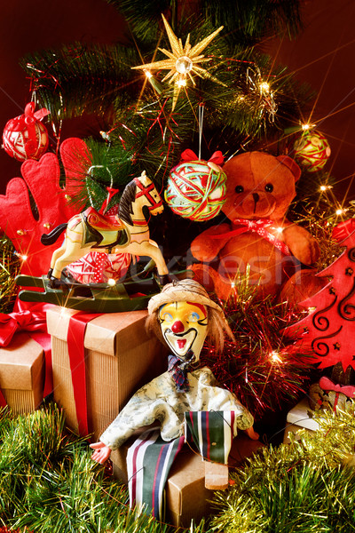 ретро игрушками подарки рождественская елка мишка лошади Сток-фото © nito