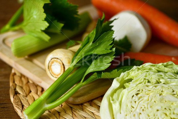 raw carrots, parsnips, turnips, cabbage and celery Stock photo © nito