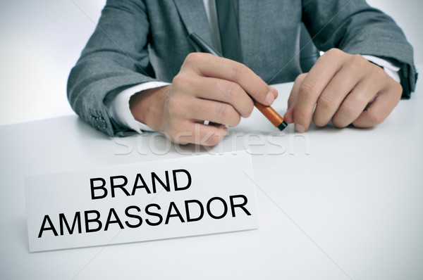 man and name plate with the text brand ambassador Stock photo © nito