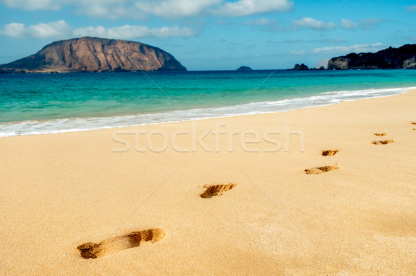 Praia la canárias Espanha pegadas areia branca Foto stock © nito