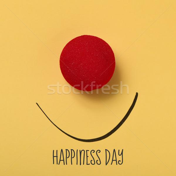 Funny twarzy tekst szczęścia dzień czerwony clown Zdjęcia stock © nito