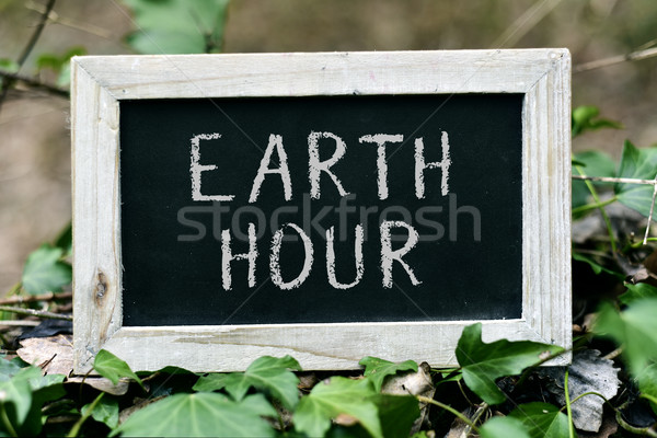 chalkboard with the text earth hour Stock photo © nito