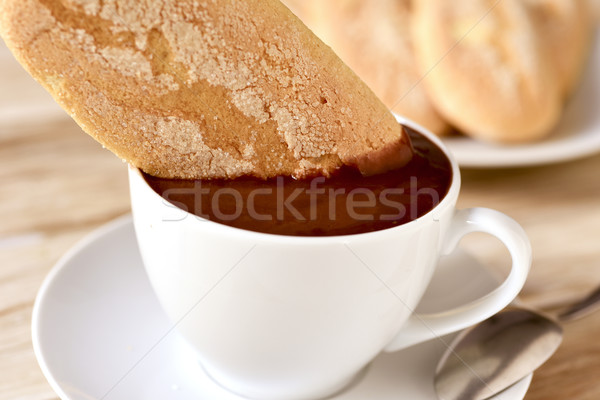 hot chocolate and melindros, typical of Catalonia Stock photo © nito