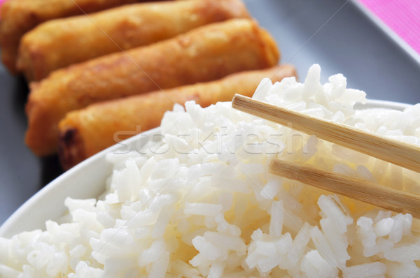 rice and spring rolls Stock photo © nito